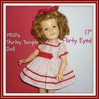 """1958 Ideal Shirley Temple Doll - Brown Flirty Eyes- 17"""" Tall (item #1286826)"""