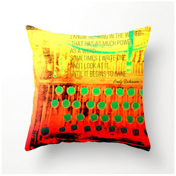 Colorful Typewriter 20x20 Decorative Throw Pillow - accent cushion - emily dickinson quote - home decor