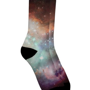 Space All Over Adult Crew Socks All Over Print by TooLoud