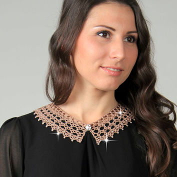 Beige detachable collar, Knitted crochet lace collar, Crystal collar, Crochet jewelry, ready to ship