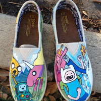 Adventure time hand painted Youth Toms.