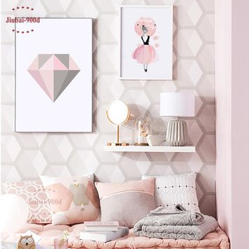 900D Pink Diamond Poster,Watercolor Girls Wall Pictures For Girls Room,Print Picture Canvas Painting Poster Decor Wall Art YE110