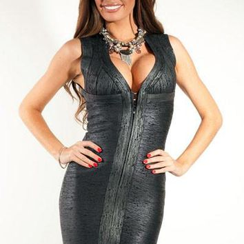 Chicloth Club Party Metallic Black Bandage Dress