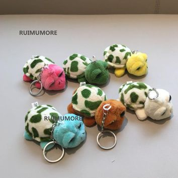 Mini Cute 1piece random Colors, 7cm approx. Gift tortoise little animal Plush toys , Key Chain turtle stuffed toys