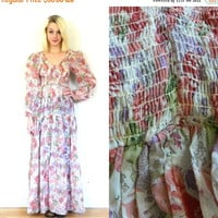 CYBER MONDAY SALE 70s vintage maxi dress / 1970s hippie dress / Floral long sleeve / Empire waist / Deep V / Low back dress size small extra