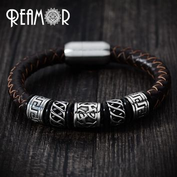 REAMOR Trendy Men Black Leather Bracelet 316l Stainless steel Viking Bead Bracelets with Strong Magnet Clasp 17-21cm