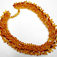 Vintage woven Amber Bead Necklace and bracelet set