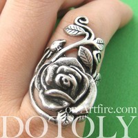 Simple Rose Floral Wrap Ring in Silver - Sizes 5 and 6 Available