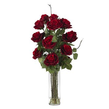 Silk Flowers -Roses With Cylinder Vase Flower Arrangement Artificial Plant