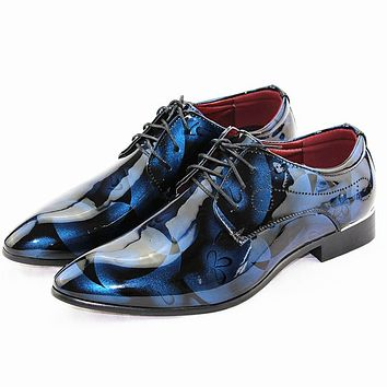 Vintage Design Men's Fashion Print Plus size Patent leather Business Dress Shoes Mens Casual Lace-up Flats EUR size 38-48