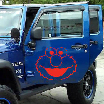 Elmo Face Decal Jeep Sticker Sesame vinyl graphics off-road 4x4 Mud Dirt tr397