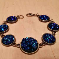 Metallic blue faux druzy Bracelet