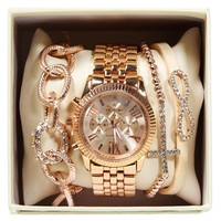 Rose Gold Rhinetone Watch Set