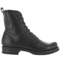 Frye Boot Veronica Combat - Black Vintage Leather Lace Combat Boot