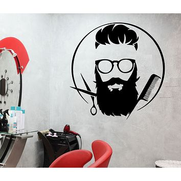 Wall Decal Men's Barber Beard Haircut Hairstyle Style Fashion Vinyl Sticker (ed1729)