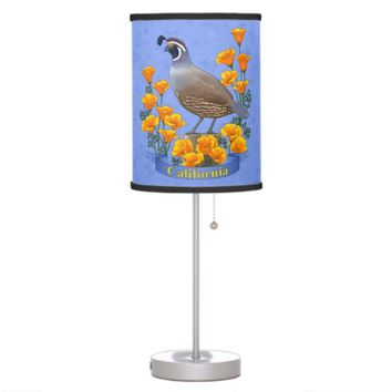 California State Bird Quail & Golden Poppy Table Lamp