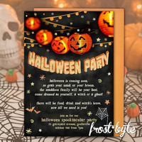 Halloween Invitation - Pumpkin lantern chalkboard design - customised with your party details - digital file to print yourself -