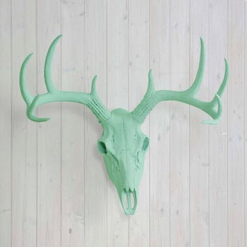 The Large Mint Green Faux Taxidermy Resin Deer Head Skull Wall Mount | Mint Green Deer Head w/ Colored Antlers