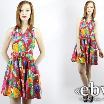 Vintage 80s Hawaiian Floral Mini Party Dress XS Floral Party Dress Hawaiian Sundress Summer Dress Halter Dress Floral Mini Dress Luau Dress
