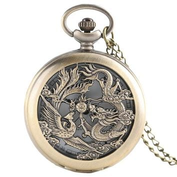 Chinese Dragon Phoenix Lucky Charm Necklace with Chain Retro Nurse Quartz Pocket Watch Fashion Pendant Women Men Elder Gifts