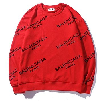 """Balenciaga"" Fashion Women Men Casual Letter Print Long Sleeve Sweater Top Red I-CP-ZDL-YXC"