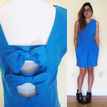 Vintage cutout bow ballon skirt mini  v-neck day dress drop waist cobalt blue