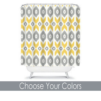 Yellow Gray SHOWER CURTAIN Custom Monogram Personalized iKat Pattern Dorm Bathroom Girl Bathroom Beach Towel Plush Bath Mat Made Usa