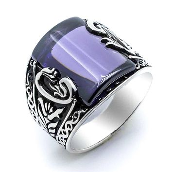 Purple amber gemstone with vav letter 925k sterling silver mens ring