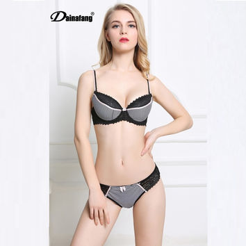 New Womens Cute Sexy Lingerie Underwear Satin Stripe Lace Push Up Bra Embroidery Splice Bras Lingerie Sets Vs Secret Brand