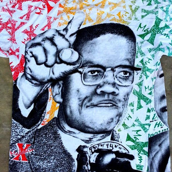 ON SALE Vintage Lurther King and Malcolm X Full Print African Right Punk 80's T shirt