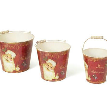 3 Retro Santa Buckets - Buckets Come In Three Different Sizes And Feature A Retro Santa Claus Design With Distressed White Handles