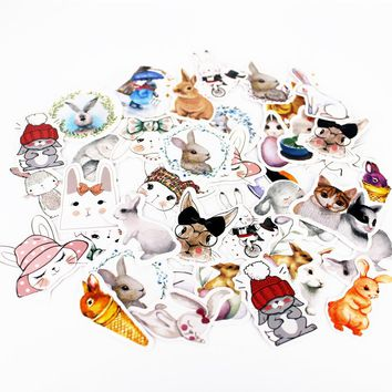 45pcs/Box Funny Bunny Stickers Pack Post It Kawaii Planner Scrapbooking Sticky Stationery Escolar School Supplies2017