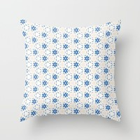 Acrylic Blue Floral Triangles Throw Pillow by Doucette Designs