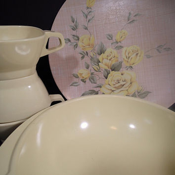 Vintage Mid Century yellow Melamine, Melmac Texas Ware yellow roses on linen weave, Boonton vegetable bowl and 3 Harmony House square cups.