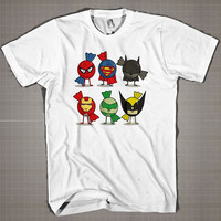 Minimalistic Superheroes Artwork Cartoons Parody  Mens and Women T-Shirt Available Color Black And White