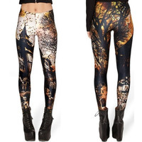 Women Fashion New Stamp Horror Haunted House Printed Slim Leggings [8833659084]