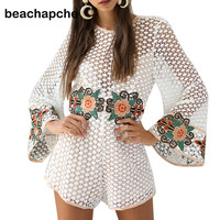 beachapche embroidery lace  jumpsuit romper women Speaker sleeves overalls Casual summer beach party sexy playsuit