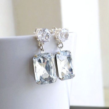 Wedding Jewelry Bridal Earrings White Clear Foiled Stone Rhinestone Jewel Silver Stud Bella EV7-3 for Bridesmaids Set of 3 pairs