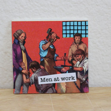 "Funny Magnet, 2 x 2 in., ""Men at Work"", Made From Recycled Encyclopedia Pages"