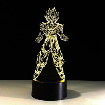 Dragon Ball Z Super Saiyan Goku Kakarot Color Changing Usb Powered 3D Table Lamp LED Night Light for Children Kid Holiday Christmas Gift
