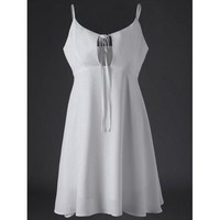 Spaghetti Strap White Empire Waist Summer Dress - White L