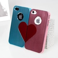 3D Love Valentine Metal iPhone 4 Couples Case For Lovers (Blue and Pink)