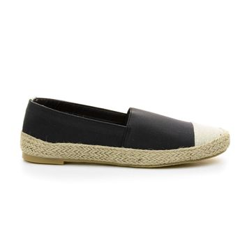 Rope09 Black By Bamboo, Elastic Espadrille Linen Round Toe Slip On Loafer Flats