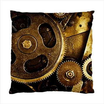 """Steampunk Metal Gears Photo Throw Pillow Cushion Case Slip Cover Polyester Fabric 17"""" or 20"""" Square Custom Design Made to Order"""
