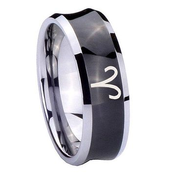 10mm Aries Zodiac Concave Black Tungsten Carbide Mens Ring Personalized