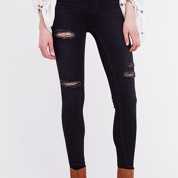 Jean Destroyed Long and Lean - Black by Free People