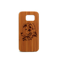 Real wood Samsung Galaxy S6 Case, Lion Samsung Galaxy S6 Case, Wood Galaxy S6 Case