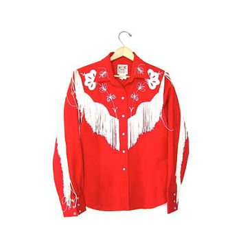 Fringed H Bar C Shirt. Red Western 60s Womens Pearl Snaps Button Up Shirt. Floral Hipster Rocker Cowboy Ranchwear Shirt. Medium Large