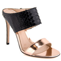 Gianvito Rossi Black Python and Gold Patent Leather Sandal