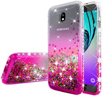 Samsung Galaxy J3 (2018) / Express Prime 3 / J3 Achieve / J3 Star / SM-J337A Case Liquid Glitter Phone Case Waterfall Floating Quicksand Bling Sparkle Cute Protective Girls Women Cover for Galaxy J3 (2018) - Hot Pink